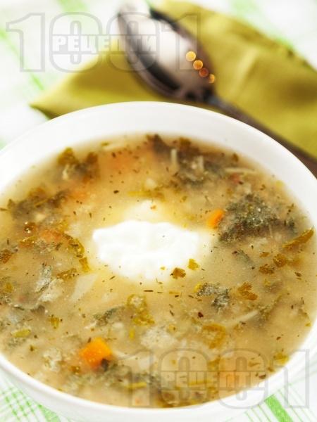 Чорба от коприва със зеленчуци, фиде и застройка от кисело мляко и яйце - снимка на рецептата
